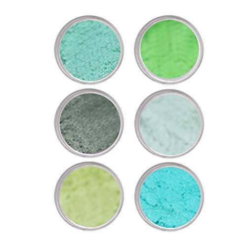 perfeclan 6 Frascos de 1 G Cada , Polvo Fino, Purpurina, Polvo de Uñas, Sombra de Ojos, Artesanía Iridiscente - Verde