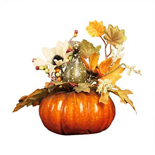 Kaerm Deko Kürbisse Halloween Kürbis Deko Künstliche Herbst Mini Kürbis Blättern Granatäpfel Sonnenblumen Tischdeko Kit Für Halloween Thanksgiving QJ703 OneSize