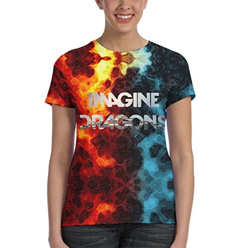 CHENYINJJ I-Ma-Gine The-Dra-Gons- Damen T-Shirt Bedrucktes T-Shirt Jugend T-Shirts 3D Kurzarm Outfit Geschenke für Mädchen