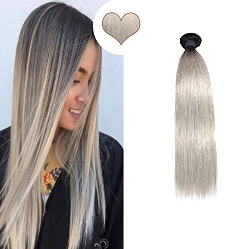Ugeat Echthaar fur Tressen Einnahen 60cm Remy Brasilianishce Haarverlangerung Weaving Glatt Haare Verdichtung 100Gramm Ein Stuck (Naturliches Schwarz Ombre Grau)