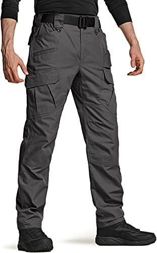 CQR Men's Tactical Pants, Water Repellent Ripstop Cargo Pants, Lightweight EDC Hiking Work Pants, Outdoor Apparel, Duratex Ripstop Mag Pocket Charcoal, 32W x 30L