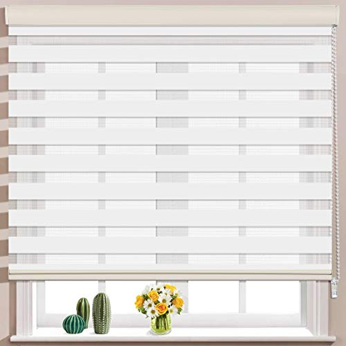 Keego Window Blinds Custom Cut to Size, White Zebra Blinds with Dual Layer Roller Shades, [Size W 34 x H 64] Dual Layer Sheer or Privacy Light Control for Day and Night