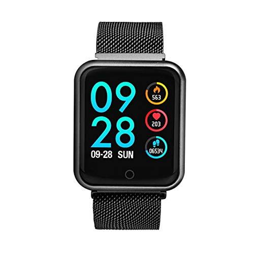 Relógio Smartwatch P68 Inteligente Ip68 Monitor De Pressão Arterial Frequência Cardíaca Impermeável Iphone Android Saúde (PRETO)