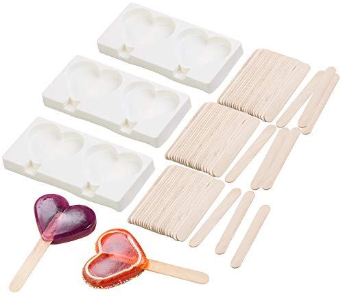 Rosenstein & Söhne Eiscremeformen: 3 Silikon-Formen für 6 Herz-Eis am Stiel, je 80 ml, 72 Holzstiele (Stieleisform)