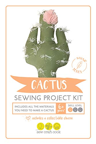 Sewing Project Kit for Kids by SewCraftCook | Sewing Machine Project Kit with Fabric | Sewing Kits for Kids for Hand or Machine Sewing | (Cactus)