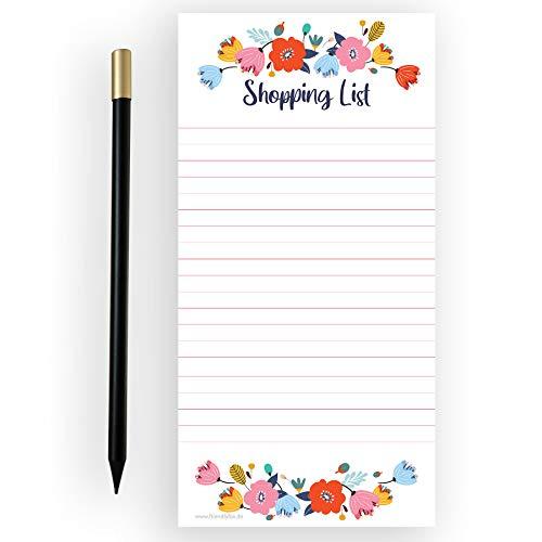 Friendly Fox Einkaufsliste magnetisch - Shopping to do listen block - 1x Magnetblock Kühlschrank mit 50 Einkaufszettel &. Magnetstift - Kühlschrankblock (Blumen)