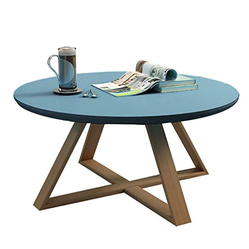 mesa de café Elegante Mesa Auxiliar/mesita de Centro Mesa de Piedra Redonda Personalizada Mesa de Oficina/Mesa de té Elegante y Durable Durable (Azul) (Size : 70x45cm)