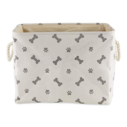 Bone Dry Paw Print Collapsible Polyester Pet Storage Bin, Rectangle Small - 14 x 8 x 9', Paws & Bones Gray