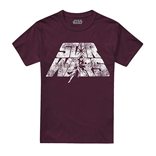 Star Wars Retro Logo Camiseta, Rojo (Burgundy Blue), XX-Large para Hombre