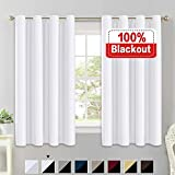 Flamingo P 100% Blackout White Curtains for Bedroom Thermal Insulated Energy Saving Blackout Curtains 63 Length Double Layer Lined Curtains Window Treatment Panels Set of 2, Grommet Top, White