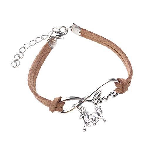 Pulsera de cuero de cadena de cuerda tejida a mano Pulsera de metal colgante de joyería para mujeres (caballo, café)