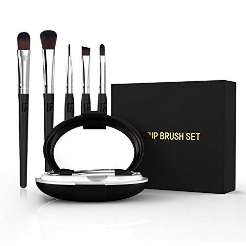 5-in-1 draagbare professionele artiest penseel set doos stichting oogschaduw make-up borstels met gedeelde handvat thuis of op reis