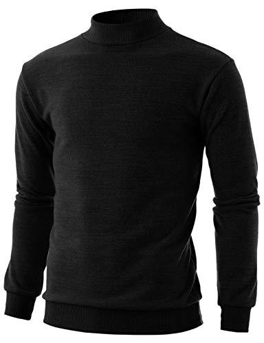 GIVON Mens Slim Fit Long Sleeve Mock Neck Ribbed Hem oft Cotton Blend Pullover...