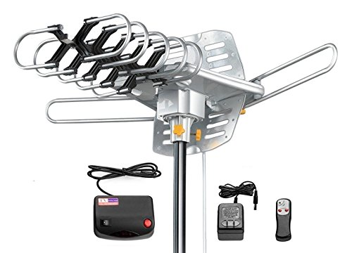 Tree New Bee Amplified HD Digital Outdoor HDTV Antenna 150 Miles Long Range with Motorized 360 Degree Rotation, UHF/VHF/FM Radio with Infrared Remote Control