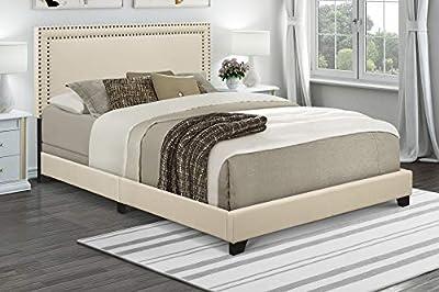 """Pulaski Nailhead Trim in Cream, 80.50"""" W x 85.25"""" L x 49.50"""" H Upholstered King Bed,"""