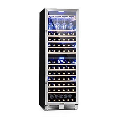 Klarstein Vinovilla Grande Duo - Large Capacity Wine Refrigerator, Beverage Fridge, Volume: 425 L, 165 Bottles, 12 Wooden Shelves, Touch Control, 2 Cooling Zone, Adjustable Temperature, Black