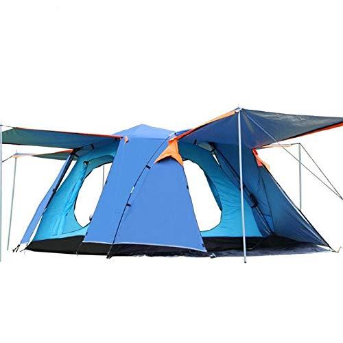 Anbel Außen Vier Türen Camping-Zelt Double-Layer-Wasserdichtes Großraum Praktische 3-4 Personen, Größe: 215 X215x165cm (Color : Blue)