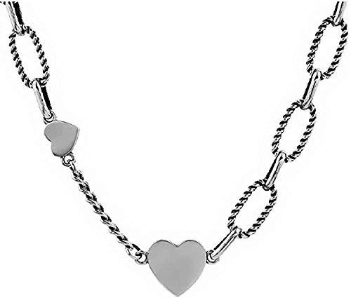 Collar Collar de Cadena Retro Liso Lindo en Forma de corazón Collar de Dama Joyas