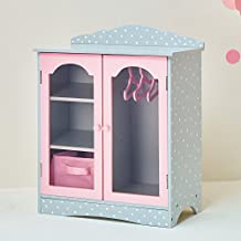 Olivia's Little World - Polka Dots Princess 18 inch Doll Wooden Closet with 3 Hangers, Fits American Girls, Our Generation Dolls, Doll Furniture, Accessories and Clothes Storage - Pink & Gray