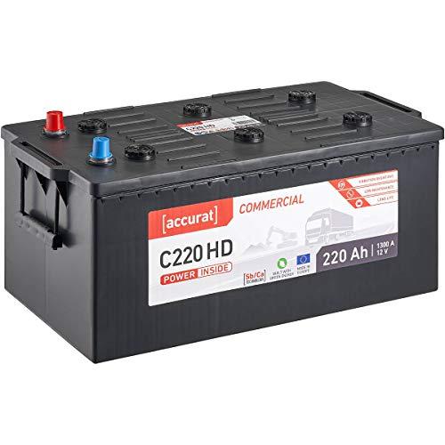 Accurat 12V LKW-Batterie 220Ah 1300A Commercial C220 HD Starter-Batterie für Nutzfahrzeuge, Land- und Baumaschinen, wartungsfrei