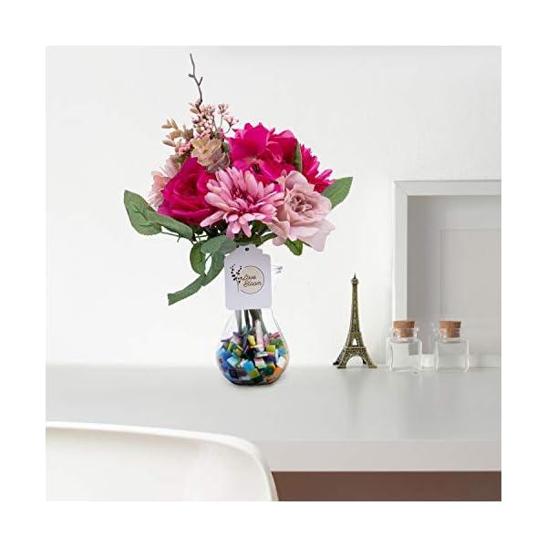 Flores Artificiales – Flor Decoracion 10 Ramas de Aspecto Real – Flor Artificial Seda Falsas Mixtas con Florero (Rosa…