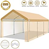 ADVANCE OUTDOOR 10 x 20 ft Heavy Duty Carport with Removable Sidewalls Car Canopy Adjustable Height Garage Shelter Party Tent, from 6.5ft to 8ft Beige