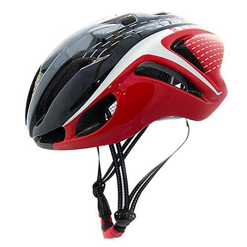 YATT Casco De Bicicleta, De Una Pieza Ultraligero Tamaño Ajustable De Moda Tamaño Libre Negro Rojo Casco De Ciclismo Adecuado para Cascos Unisex