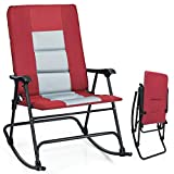 Giantex Camping Rocking Chair Fold-able Oversized with Padded Armrest and Seat...