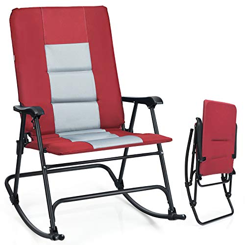 Giantex Camping Rocking Chair Fold-able Oversized with Padded Armrest and Seat Folding Lawn Chair 350 lbs Weight Capacity for Outdoor, Patio, Lawn, Backyard, Garden Portable Chair (1, Red)