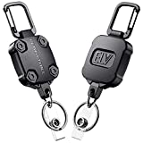 E LV Self Retractable ID Badge Holder Key Reel, Heavy Duty, 32 Inches Cord, Carabiner Key Chain Keychain, Hold Up to 15 Keys and Tools (2 Pack)