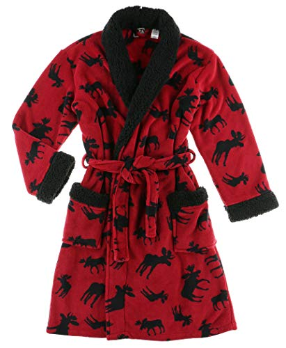 Lazy One Classic Moose Ultra-Cozy Bathrobes for Women, Animal, Cabin (S/M)