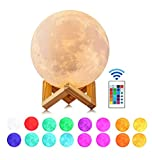 Moon Lamp, Guteauto 5.9 inch 16 Colors LED 3D Print Moon Light with Stand & Touch Control and USB Rechargeable, Moon Light Lamps for Kid Friends Lover Birthday Mothers Days Gift