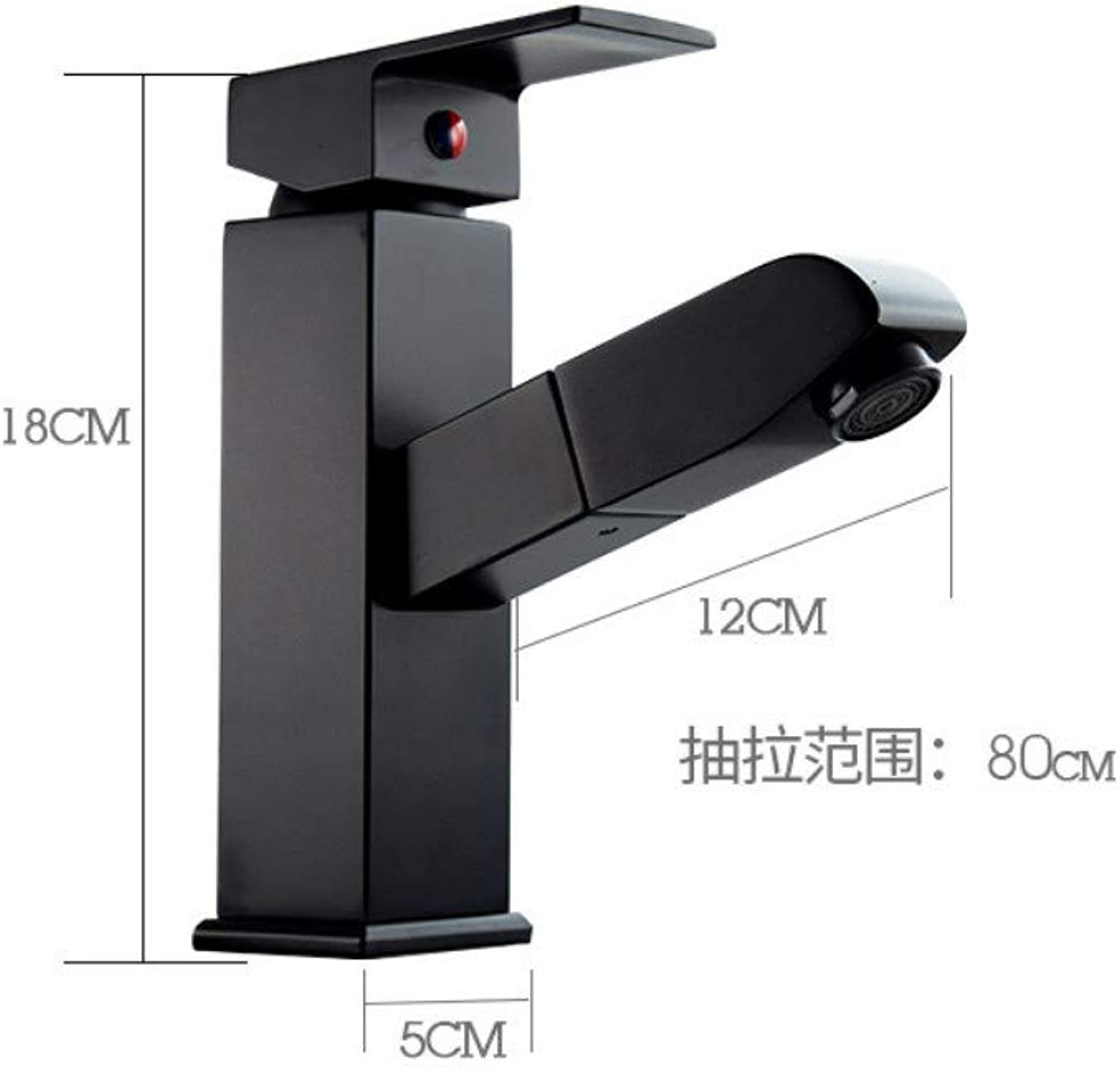 All Copper Plating Pull Telescopic Faucet Hot and Cold Water Mixing Basin Basin Bathroom Faucet, Black 1