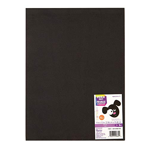 Darice Foamies Extra Thick Foam Sheet Black 6mm Thick 9 x 12 inches (10-Pack) 1199-21