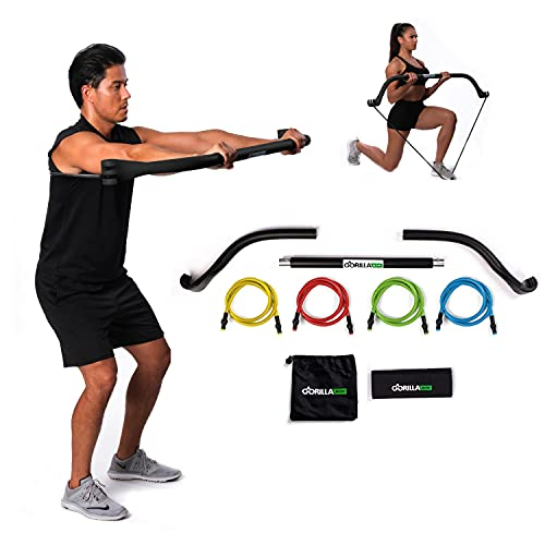 Gorilla Bow Portable Home Gym Resistance Bands and Bar System for Travel, Fitness, Weightlifting and...