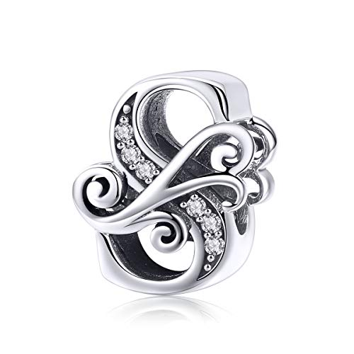 Solid 925 Sterling Silver with Cubic Stones, Complete A~Z Gift Options Alphabet Charm Letter Beads fit Pandora European Bracelets (S)