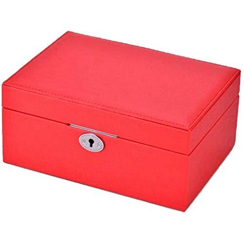 WYZQ Joyero - Joyero Mediano Cerradura de Cuatro Piezas Hermosa joyería de Moda Collar Caja Colgante Anillo Pulsera Joyero (Color: Rojo)
