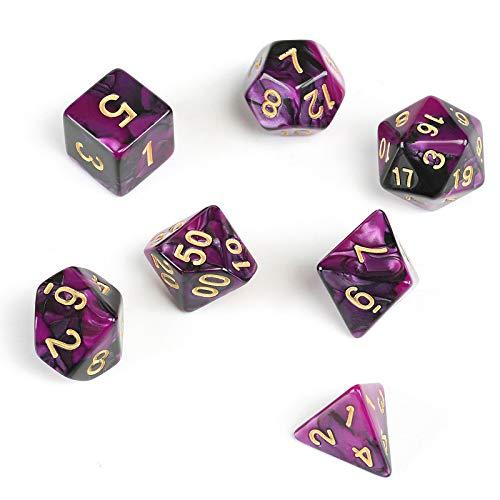 GWHOLE 7 Pezzi Dadi Poliedrici per Giochi di Ruolo con Giochi da Tavolo Dungeons And Dragons con Sacchetto Nero, Viola Nero