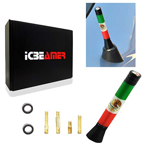 ICBEAMER 3 inch / 76 mm Mini Mexican Mexico Flag Automotive Antenna with Internal Copper Coil Universal Fit AM/FM Radio Antenna Replacement Compatible for Car, Truck and Van