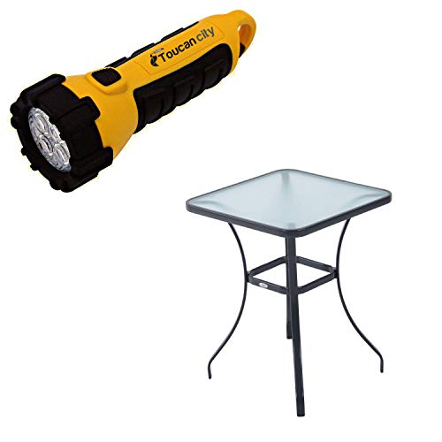 Toucan City LED Flashlight and Outsunny 34 in. Black Outdoor Glass Top Bistro Table 84B-035