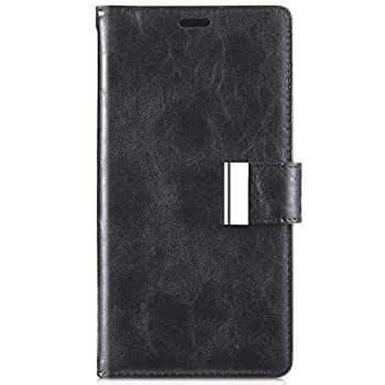 IKASEFU Compatible with Samsung Galaxy Note 5 Case Retro crack Pu Leather Wallet Strap Case Card Slots Shockproof metal Magnetic Folio Flip Protective Soft Bumper Cover Case,black