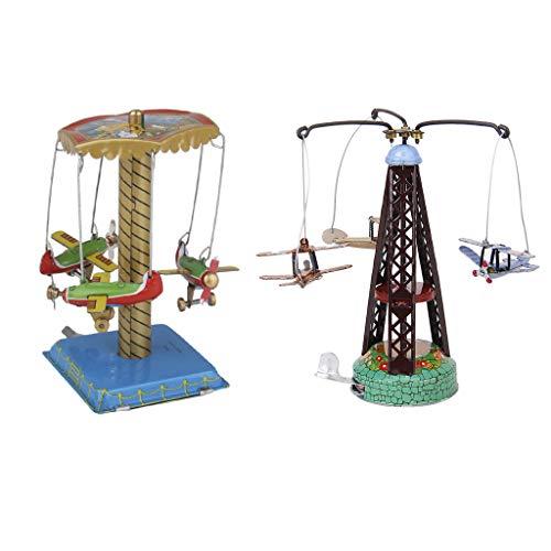 sharprepublic 2X Bechspielzeug Gedrehtes Flugzeug Karussell Spielzeug Sammlerstück Geschenk
