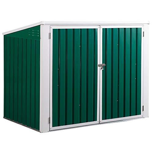 Outsunny Mülltonnenbox Gerätebox Müllbox Storer für 2 Mülltonnen abschließbar Stahl Grün 173 x 100 x 134/114 cm