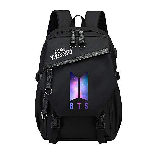 BTS Lässige Rucksäcke für Frauen und Männer Schulrucksack Reiserucksack Trekkingrucksäcke Sport Outdoor Daypacks Laptoprucksäcke mit USB-Ladeanschluss