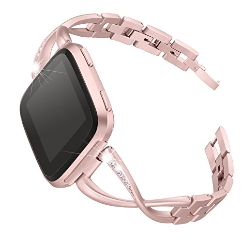bayite Stainless Steel Bands Compatible with Fitbit Versa/Versa 2 for Women, Bling Replacement Band Bracelet with Rhinestones Diamond X-Link Accessories Watch Band, 5.3 - 7.6 Rose Gold