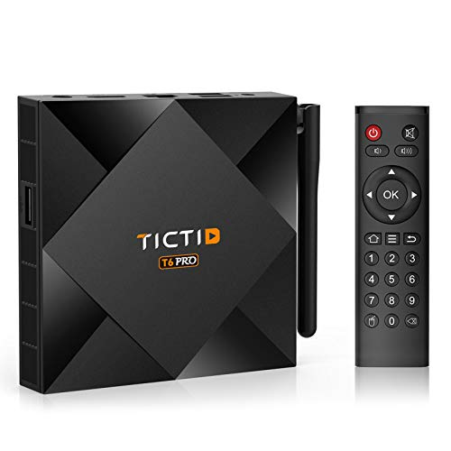 TICTID Android 10.0 TV Box 【4G+32G】 H616 64-bit Quad Core Arm Cortex A53 CPU 100M LAN, WiFi-Dual 5G/2.4G, BT 4.0, 4K*2K Smart TV Box