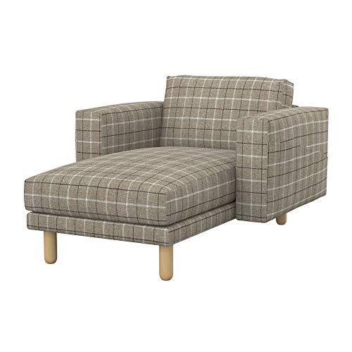 Soferia Bezug fur IKEA NORSBORG Freistehende Recamiere, Stoff Stewart Beige Check