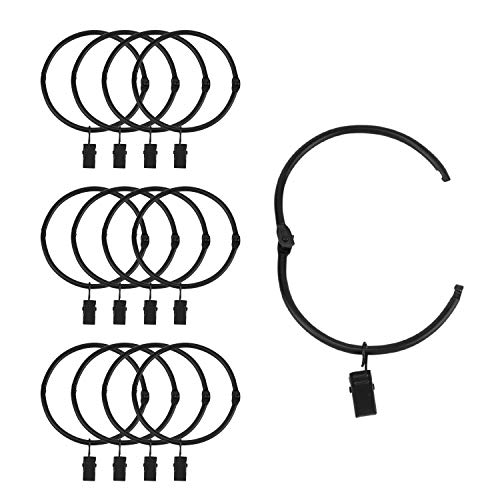 Suneration 12 Pack Openable Curtain Rings with Clips Metal Hangers Ring 3 inch Interior Diameter Rust Proof for Heavy Duty Vintage Decorative Drapery Eyelet Curtain Rods Black