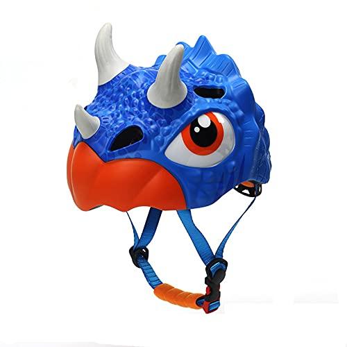 EDC Dinosaurier-Schutzhelm für Kinder Outdoor-Fahrrad-Anti-Fall-Helme für Kinder im Alter von 2~8 Jungen Mädchen Riemenscheibe Dreirad Laufrad Sport-Sicherheitshut Blau verstellbare Kapuze