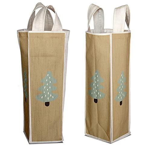 Bonamaison Bolsa de Vino de Lona de algodón Impresa digitalmente, Bolsa de Botella, Tapas de Botella de Vino, Bolsa de Soporte de Vino, tamaño: 16,5 x 31,5 x 7,5 cm